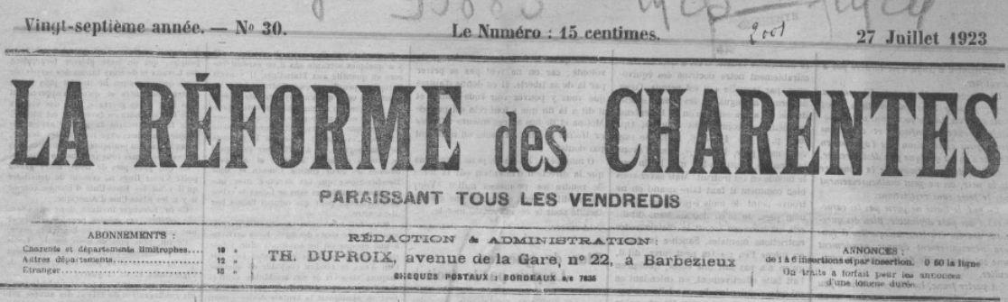 Photo (BnF / Gallica) de : La Réforme des Charentes. Barbezieux, 1897-1931. ISSN 1169-7474.