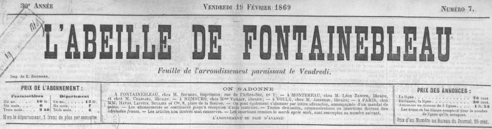Photo (BnF / Gallica) de : L'Abeille de Fontainebleau. Fontainebleau, 1840-1944. ISSN 2022-7930.