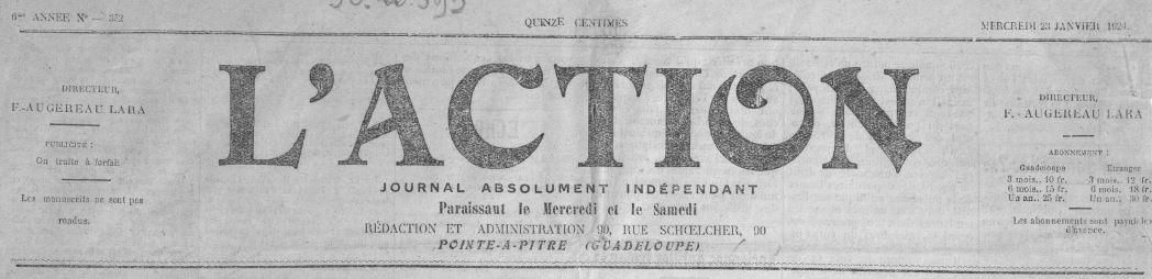 Photo (BnF / Gallica) de : L'Action. Pointe-à-Pitre, 1919-1963. ISSN 2427-0911.