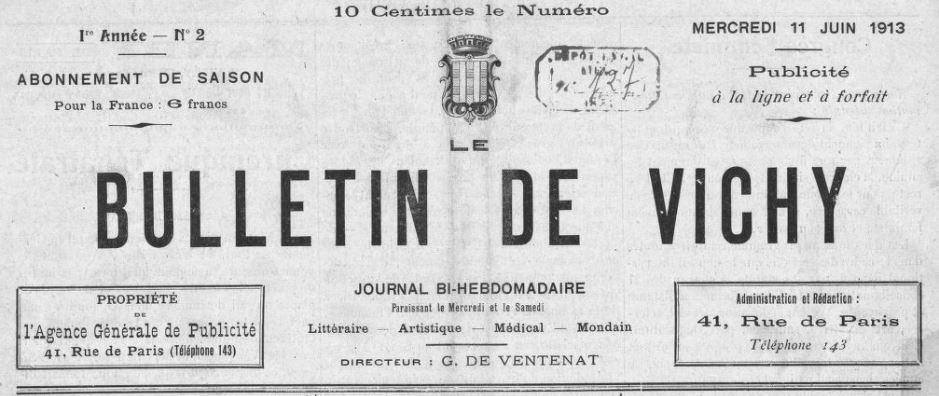 Photo (BnF / Gallica) de : Le Bulletin de Vichy. Vichy, 1913-1920. ISSN 2122-7284.