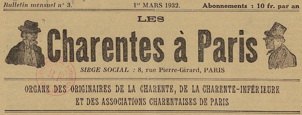Photo (BnF / Gallica) de : Les Charentes à Paris. Paris, [1932 ?-1938 ?]. ISSN 2123-6593.