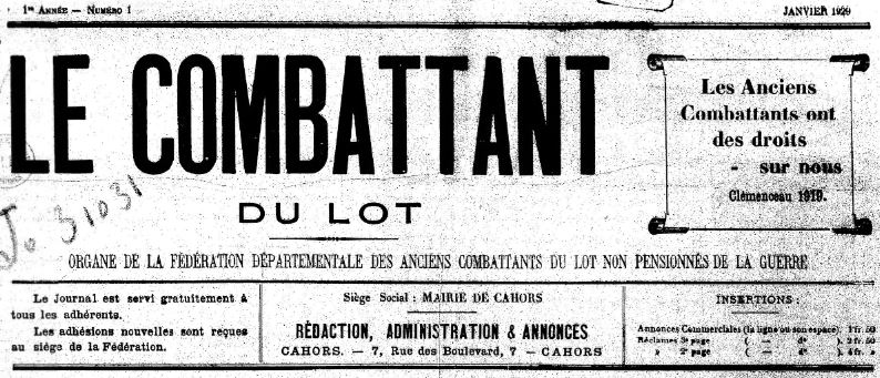 Photo (BnF / Gallica) de : Le Combattant du Lot. Cahors, 1929. ISSN 2111-9775.