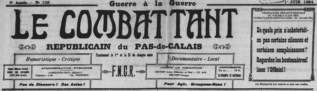 Photo (BnF / Gallica) de : Le Combattant républicain du Pas-de-Calais. Boulogne-sur-Mer, 1924-[1930 ?]. ISSN 2124-1554.