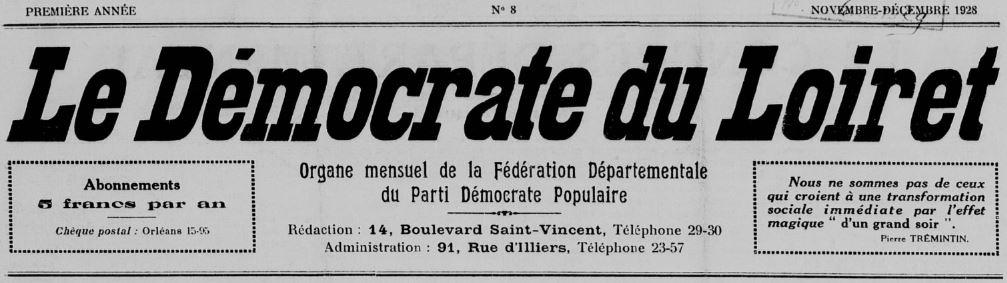 Photo (BnF / Gallica) de : Le Démocrate du Loiret. Orléans, 1928-1936. ISSN 2125-5911.