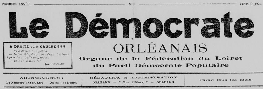 Photo (BnF / Gallica) de : Le Démocrate orléanais. Orléans, 1928. ISSN 2125-6071.