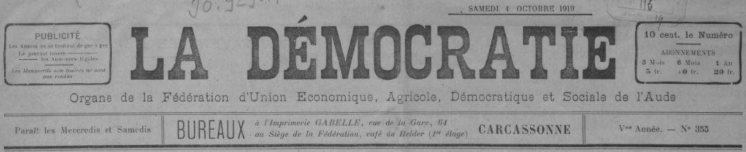Photo (BnF / Gallica) de : La Démocratie. Carcassonne, [1919 ?-1939 ?]. ISSN 2125-6314.