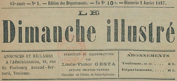 Photo (BnF / Gallica) de : Le Dimanche illustré. Toulouse, 1873-[1887 ?]. ISSN 2125-9011.