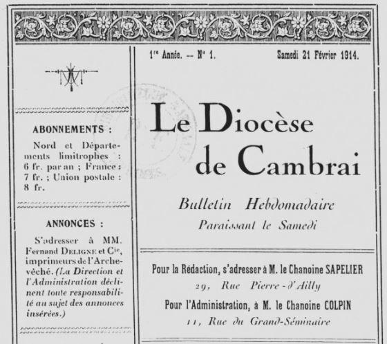 Photo (BnF / Gallica) de : Le Diocèse de Cambrai. Cambrai, 1914-1919. ISSN 2125-9119.