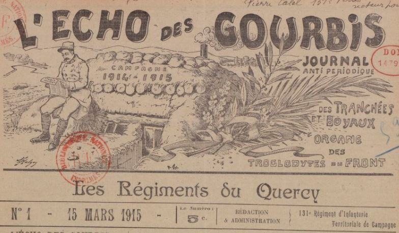 Photo (BnF / Gallica) de : L'Écho des gourbis. Châlons-sur-Marne: 131e Territorial de campagne, les régiments du Quercy, 1915-1918. ISSN 2126-5003.