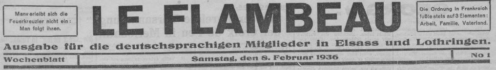 Photo (BnF / Gallica) de : Le Flambeau. Forbach, 1936. ISSN 1963-6784.
