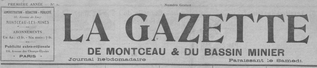 Photo (BnF / Gallica) de : La Gazette de Montceau et du bassin minier. Montceau-les-Mines, 1931-1939. ISSN 2128-6523.