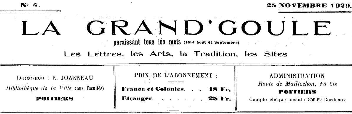 Photo (BnF / Gallica) de : La Grand'goule. Poitiers, 1929-1944. ISSN 2106-1599.