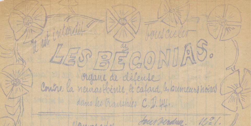 Photo (BnF / Gallica) de : Il est interdit de bousculer les bégonias. Sous Verdun, [1916 ?]. ISSN 2129-2477.