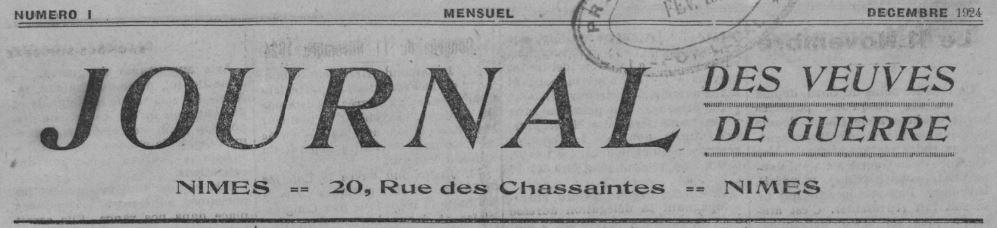 Photo (BnF / Gallica) de : Journal des veuves de guerre. Nîmes, 1924-1935. ISSN 2130-8195.