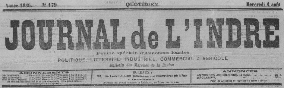 Photo (BnF / Gallica) de : Journal de l'Indre. Châteauroux, 1886-1936. ISSN 1959-9293.