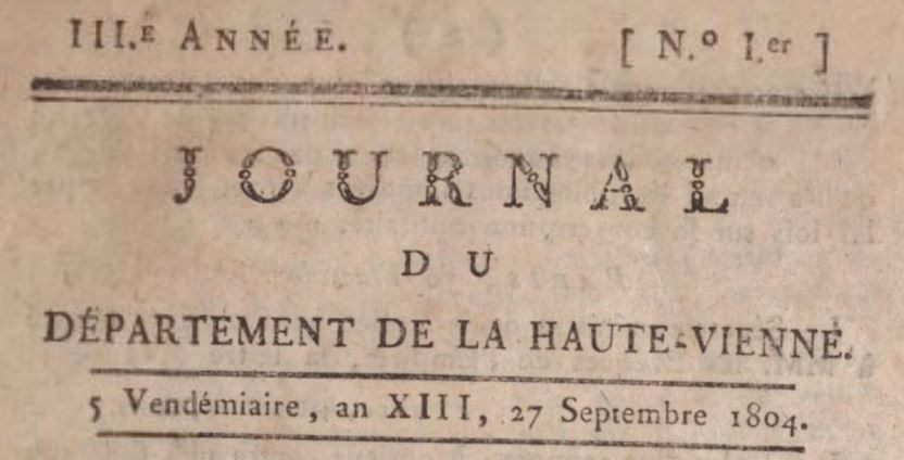 Photo (BnF / Gallica) de : Journal du département de la Haute-Vienne. Limoges, 1803-[1809?]. ISSN 2130-8624.