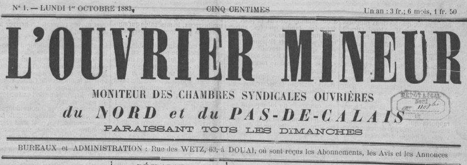 Photo (BnF / Gallica) de : L'Ouvrier mineur. Douai, 1883-[1884 ?]. ISSN 2133-4560.
