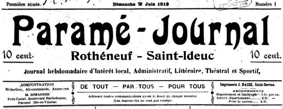 Photo (BnF / Gallica) de : Paramé-journal. Paramé, 1912-1913. ISSN 2133-5354.