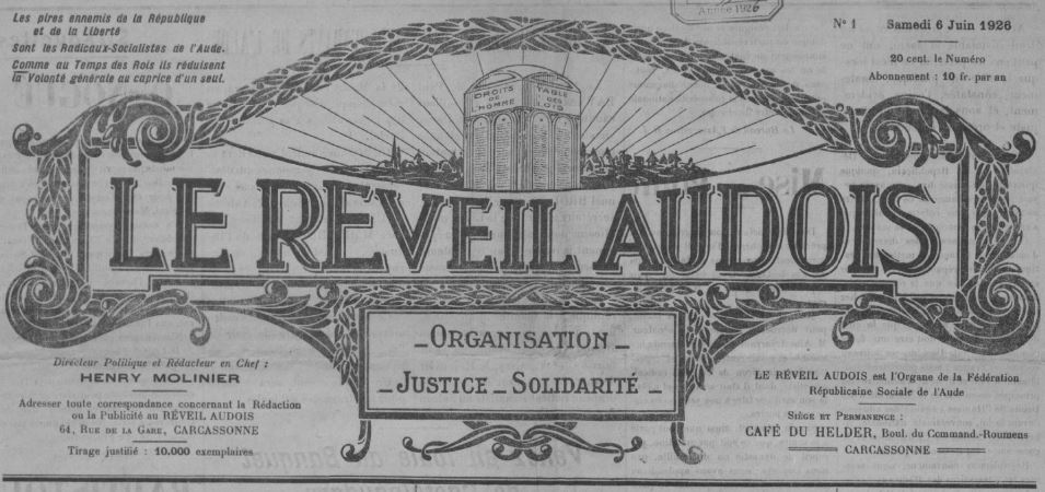Photo (BnF / Gallica) de : Le Réveil audois. Carcassonne, 1926-[1931 ?]. ISSN 2136-6756.