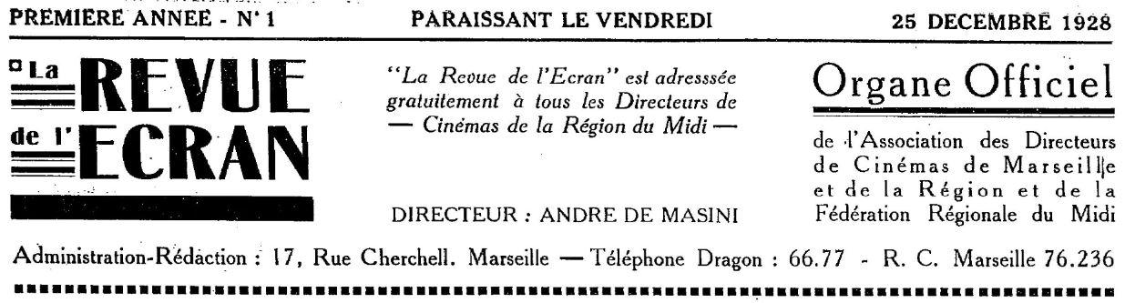 Photo (BnF / Gallica) de : La Revue de l'écran. Marseille, 1928-1944. ISSN 2137-3043.