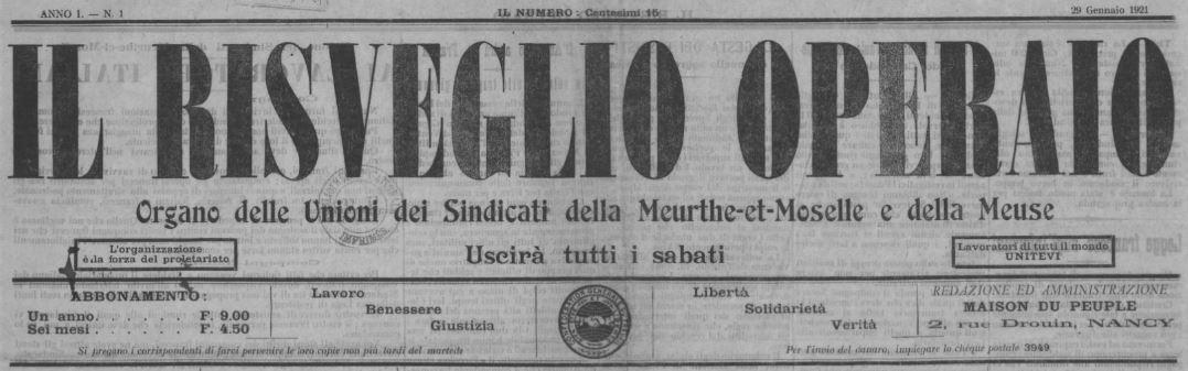 Photo (BnF / Gallica) de : Il Risveglio operaio. Nancy, 1921. ISSN 2137-5615.