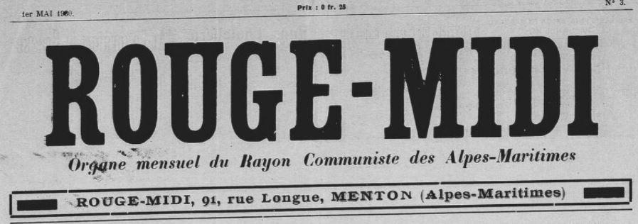 Photo (BnF / Gallica) de : Rouge-Midi. Menton, 1930-1948. ISSN 1770-653X.