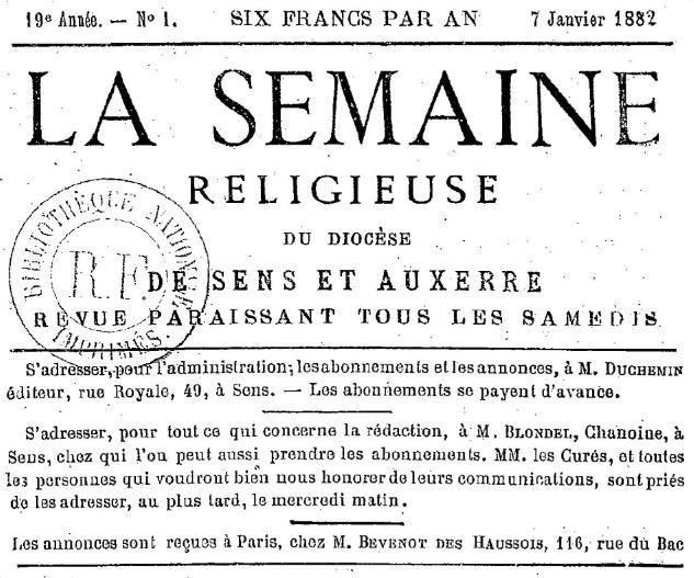 Photo (BnF / Gallica) de : La Semaine religieuse du diocèse de Sens et Auxerre. Sens, 1864-1933. ISSN 2137-9904.