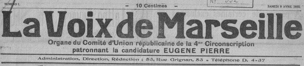 Photo (BnF / Gallica) de : La Voix de Marseille. Marseille, 1932-1935. ISSN 2025-3559.