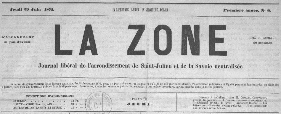 Photo (BnF / Gallica) de : La Zone. Saint-Julien, 1871[1874 ?]-. ISSN 2140-4291.