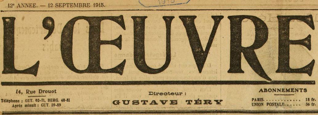 Photo (BnF / Gallica) de : L'Œuvre. Paris, 1904-1944. ISSN 1149-4247.