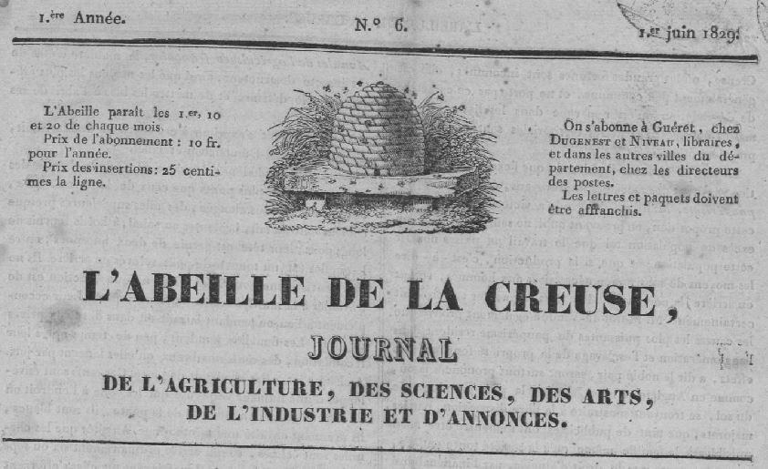 Photo (Creuse. Archives départementales) de : L'Abeille de la Creuse. Guéret, 1829-1872. ISSN 2120-0491.
