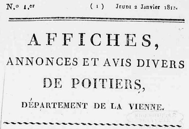 Photo (Médiathèque François-Mitterrand (Poitiers)) de : Affiches, annonces et avis divers de Poitiers, département de la Vienne. Poitiers: Catineau, imprimeur-libraire, 1812-1840. ISSN 1967-8312.