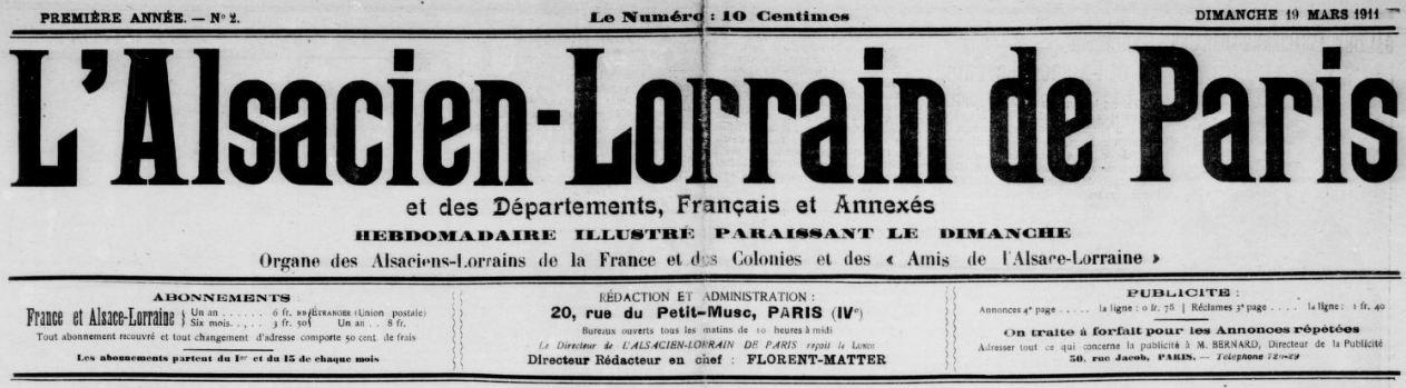 Photo (BnF / Gallica) de : L'Alsacien-Lorrain de Paris et des départements, français et annexés. Paris, 1911-1920. ISSN 1270-5837.