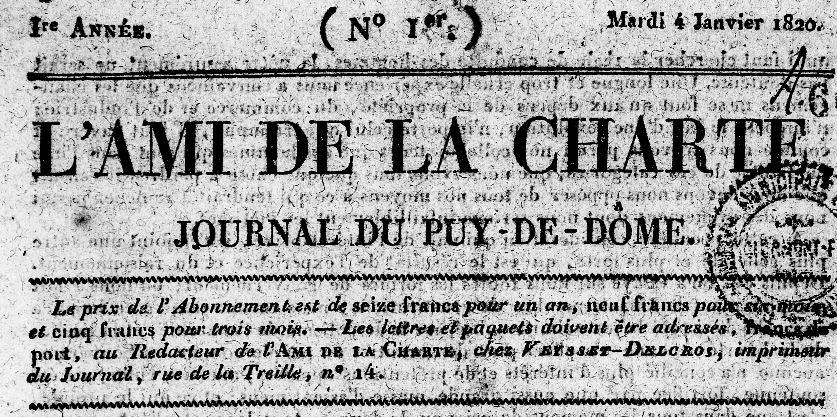 Photo (Bibliothèque du patrimoine de Clermont Auvergne métropole) de : L'Ami de la Charte. Clermont-Ferrand, 1820-1848. ISSN 2120-6376.