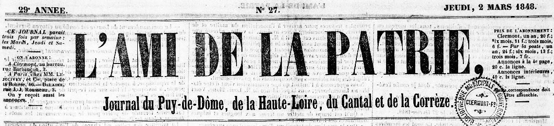 Photo (Bibliothèque du patrimoine de Clermont Auvergne métropole) de : L'Ami de la patrie. Clermont-Ferrand, 1848-1856. ISSN 2120-6422.