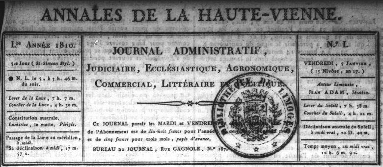 Photo (Bibliothèque francophone multimédia (Limoges)) de : Annales de la Haute-Vienne. Limoges, 1810-1840. ISSN 2120-7674.