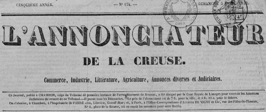 Photo (Creuse. Archives départementales) de : L'Annonciateur de la Creuse. Chambon-sur-Voueize: Farré aîné, 1838-1930. ISSN 2120-8638.