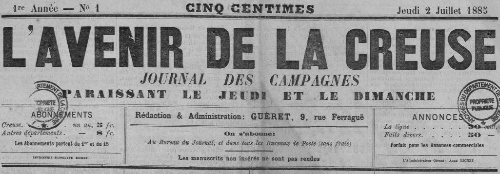 Photo (Creuse. Archives départementales) de : L'Avenir de la Creuse. Guéret, 1885-1890. ISSN 2121-459X.
