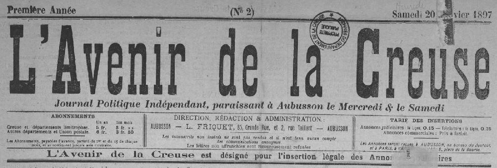 Photo (Creuse. Archives départementales) de : L'Avenir de la Creuse. Aubusson, 1897-1910. ISSN 2121-4603.