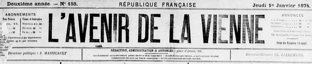 Photo (Vienne (Département). Archives départementales) de : L'Avenir de la Vienne. Poitiers, 1873-1928. ISSN 2121-4891.