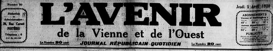 Photo (Vienne (Département). Archives départementales) de : L'Avenir de la Vienne et de l'Ouest. Poitiers, 1928-1944. ISSN 2121-4905.
