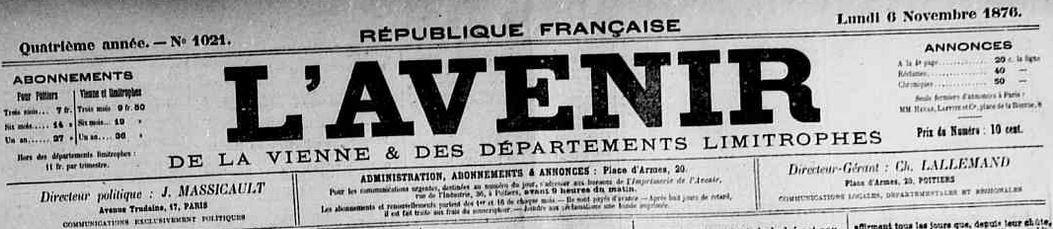 Photo (Vienne (Département). Archives départementales) de : L'Avenir de la Vienne et des départements limitrophes. Poitiers, 1876-1883. ISSN 2121-4913.