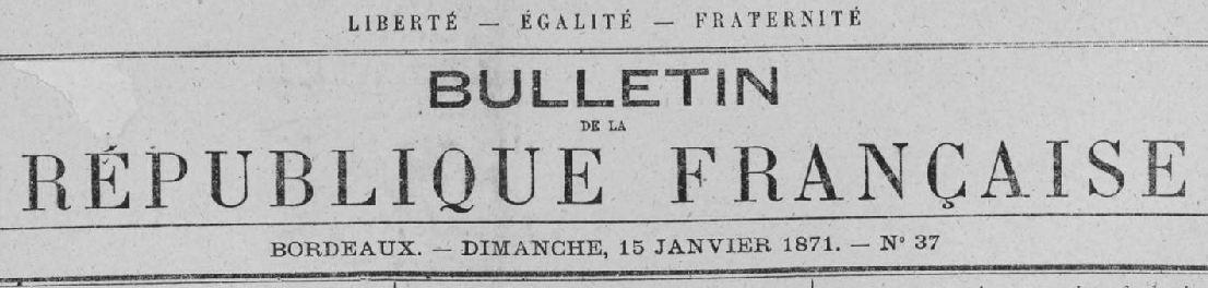 Photo (Creuse. Archives départementales) de : Bulletin de la République française. Tours, 1870-1871. ISSN 2023-9750.