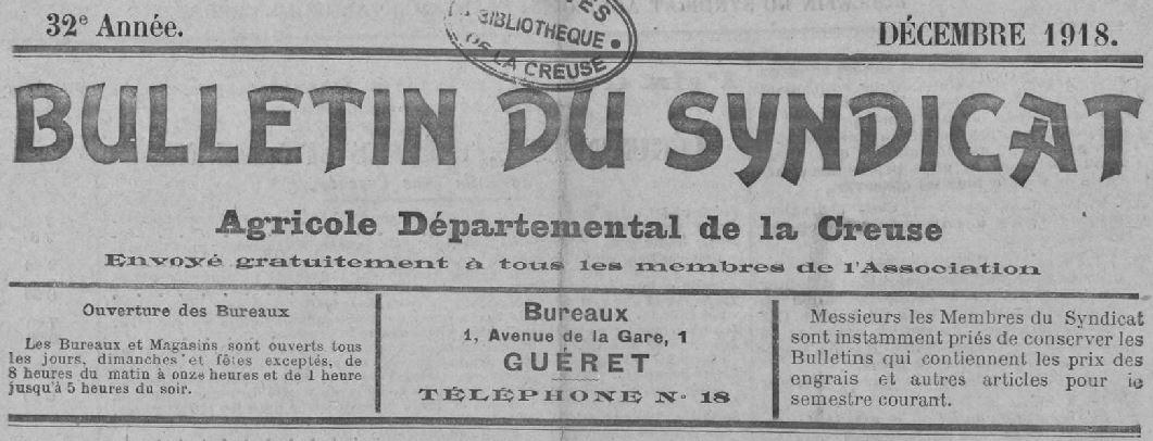 Photo (Creuse. Archives départementales) de : Bulletin du Syndicat agricole départemental de la Creuse. Guéret, 1890-1921. ISSN 2122-8973.