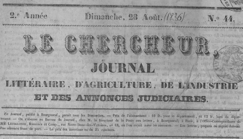 Photo (Creuse. Archives départementales) de : Le Chercheur. Bourganeuf: J.-B. Ducher, 1834-1944. ISSN 2123-7093.