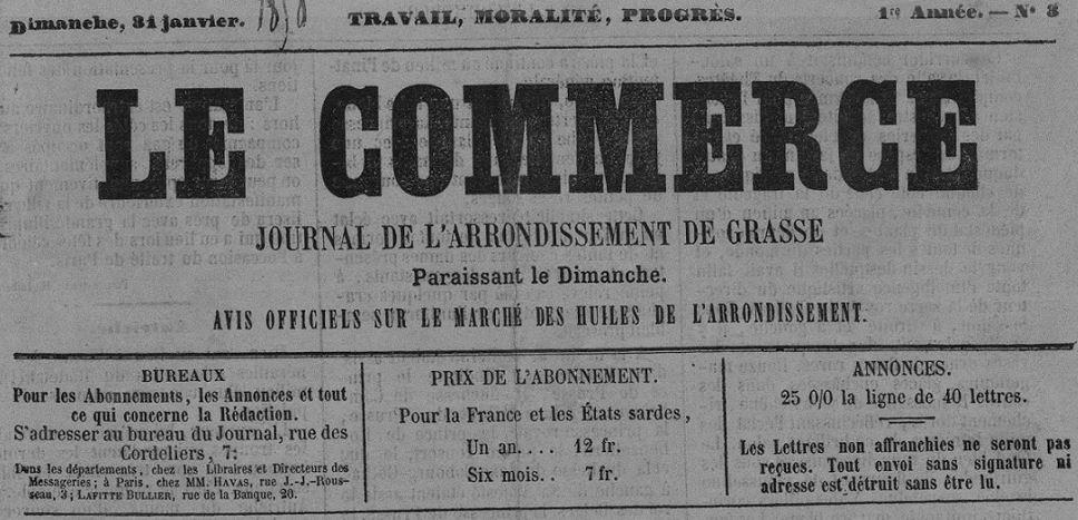 Photo (Bibliothèque municipale (Grasse, Alpes-Maritimes)) de : Le Commerce. Grasse, 1858-1898. ISSN 1245-7833.