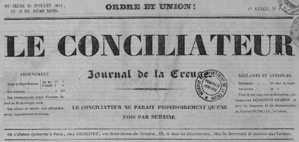 Photo (Creuse. Archives départementales) de : Le Conciliateur. Guéret, 1851-1871. ISSN 2124-2968.