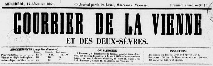 Photo (Médiathèque François-Mitterrand (Poitiers)) de : Le Courrier de la Vienne et des Deux-Sèvres. Poitiers, 1851-1925. ISSN 2124-7684.