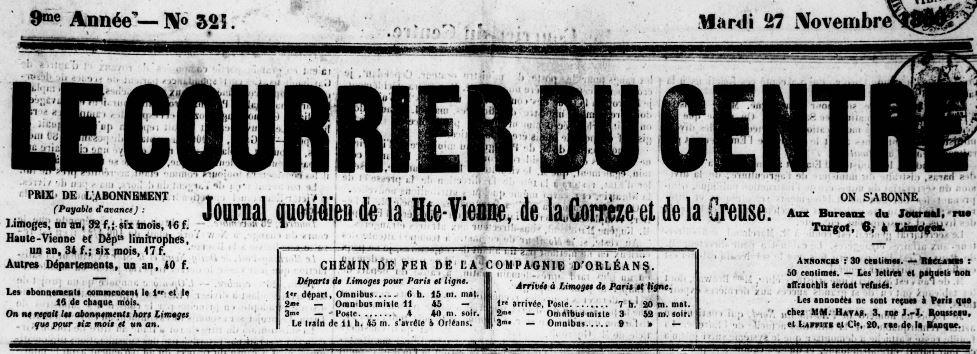 Photo (Bibliothèque francophone multimédia (Limoges)) de : Le Courrier du Centre. Limoges, 1860-1944. ISSN 2124-8605.