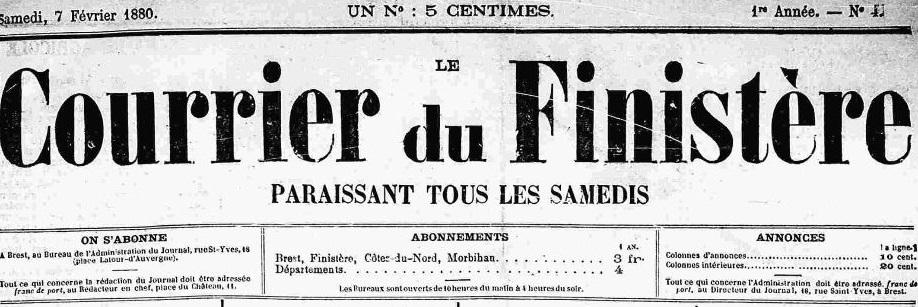Photo (Finistère. Archives départementales) de : Le Courrier du Finistère. Brest, 1880-1944. ISSN 2022-8287.